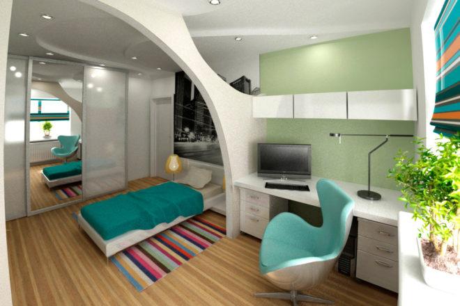 Возможный вариант расстановки мебели для удобства подростков