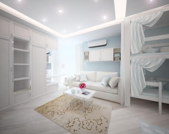 Оформленная белым цветом однокомнатная квартира кажется нарядней и больше