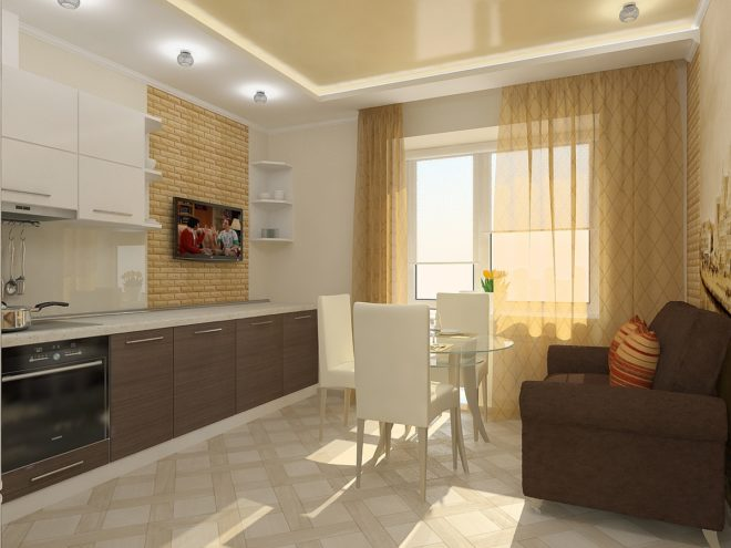 Кухня с диваном и обеденным столом