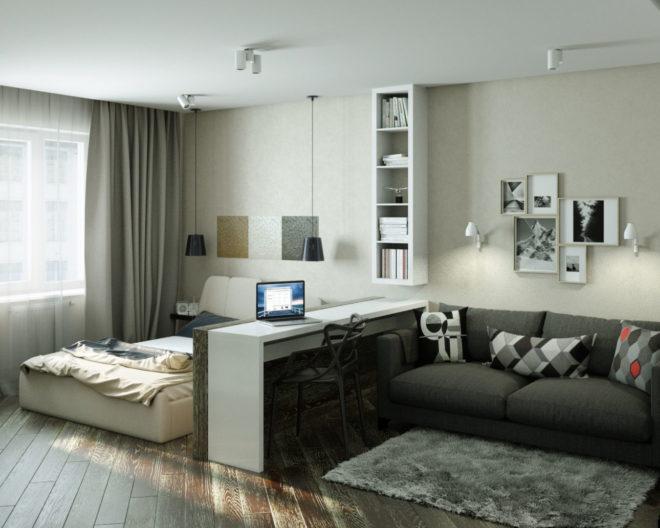 Фото примерной планировки комнаты в однокомнатной квартире