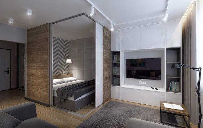 Фото: так может выглядить встроенная спальня в однокомнатной квартире