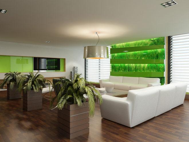 Светлый интерьер в эко-стиле с зелёными акцентами