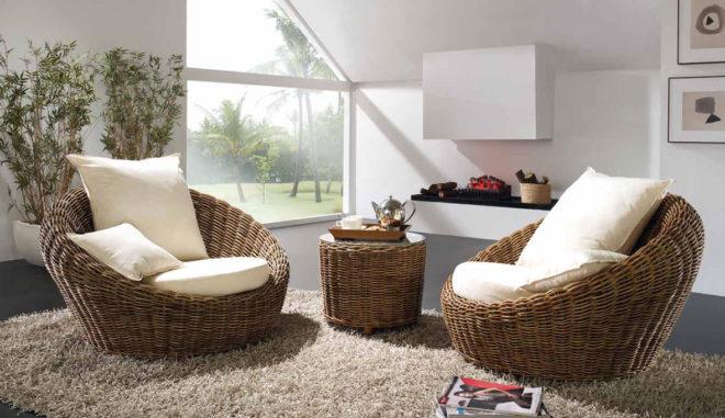 Комната с плетёной мебелью