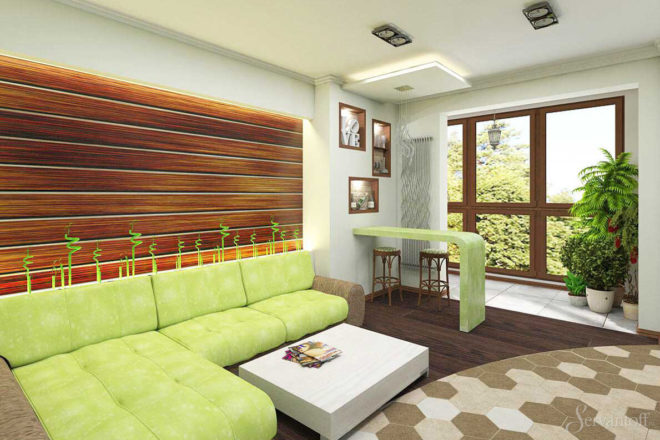 Гостиная в эко-стиле с большим окном