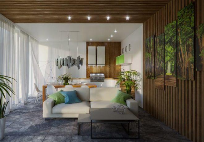 Комната в эко-стиле с деревянной стеной и потолком