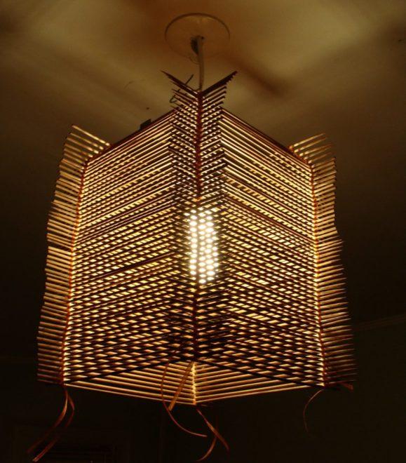 Абажур в восточном стиле из бамбуковых палочек