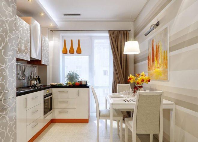 Фото: вариант оформления кухни 11 кв. м светлыми тонами