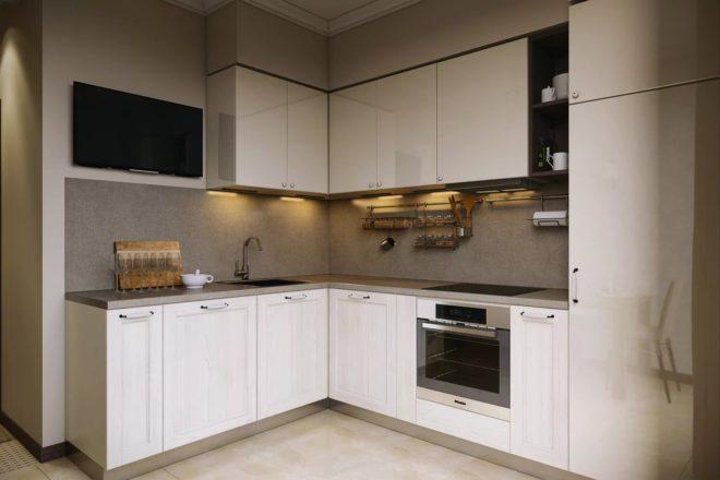 Мебель для квадратной кухни 11 кв. м с белыми фасадами