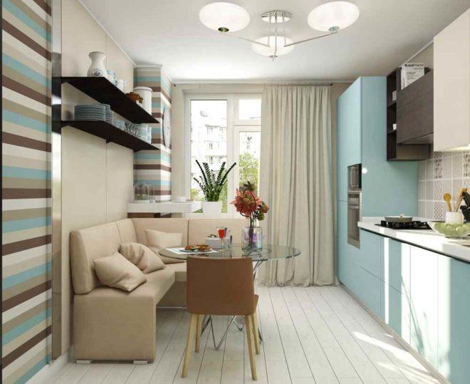 Мягкий диванчик в интерьере кухни 11 кв. м