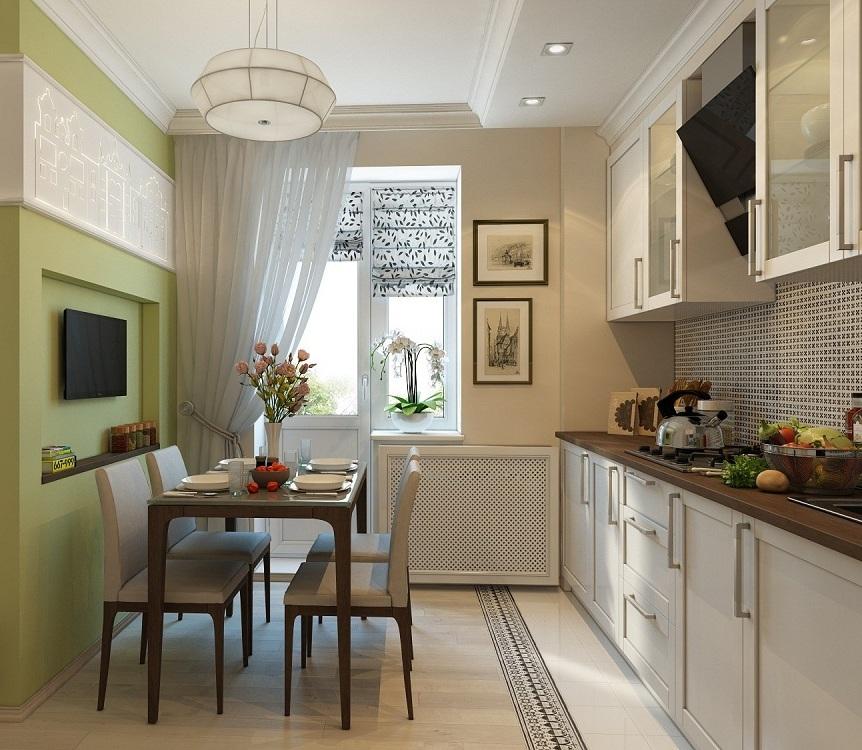 материал, фото кухни прямоугольной с балконом благородство