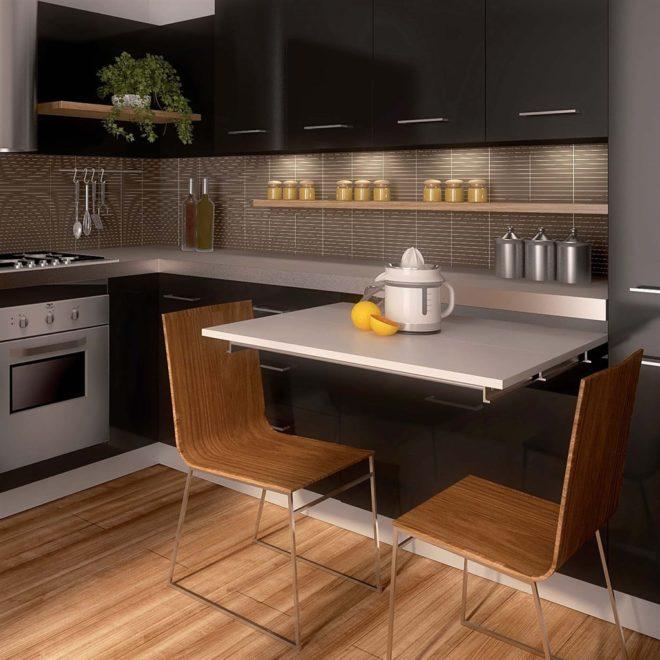 Выдвижной стол для квадратной кухни 11 кв. м
