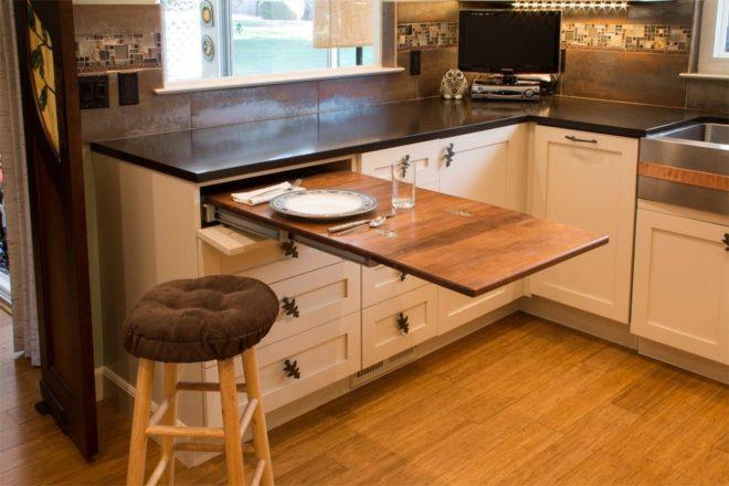 Выдвижной стол для кухни, сделанный домашним умельцем
