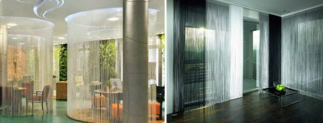 Нитяные шторы в кафе и в холле отеля