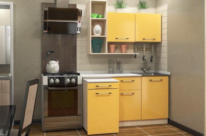 Жёлтый кухонный гарнитур