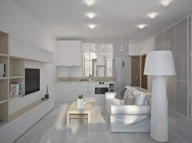 Студия с потолочной подсветкой