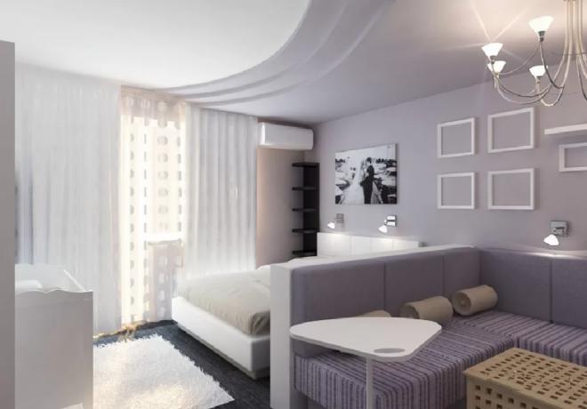 Спальная и гостиная зоны в одной комнате