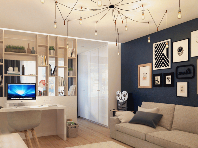 Зонирование комнаты на спальню и гостиную с помощью стеллажа