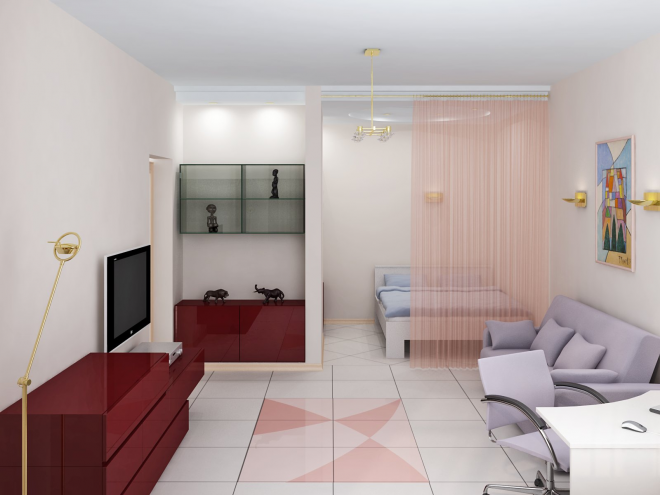 Визуализация комнаты со спальной и гостиной зонами