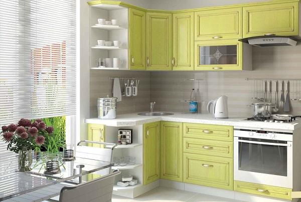 Салатовый кухонный гарнитур с угловой мойкой