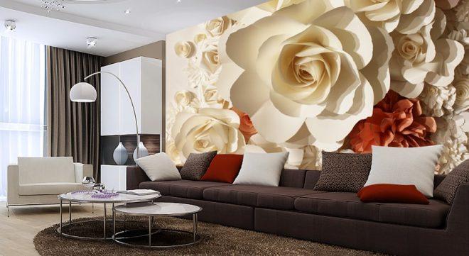 Фотообои 3D с цветочными мотивами