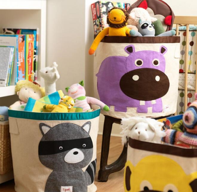 Круглые тканевые ёмкости для игрушек с рисунками зверей