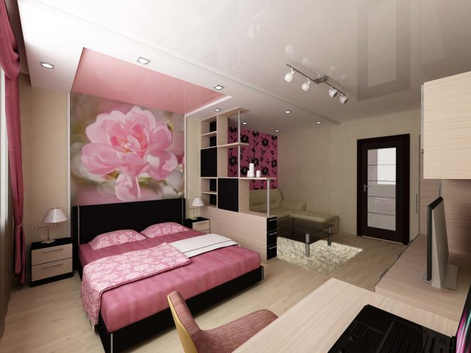 Спальня-гостиная с перегородкой в виде стеллажа