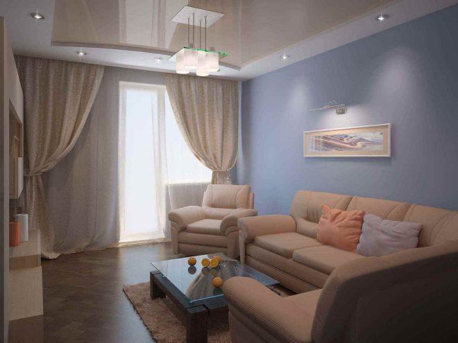 Дизайн гостиной с креслами и диваном