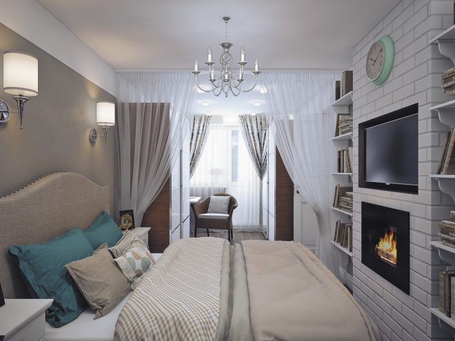 Спальня, объединённая с лоджией