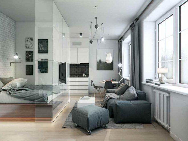 Дизайн спальни-гостиной со стеклянной перегородкой