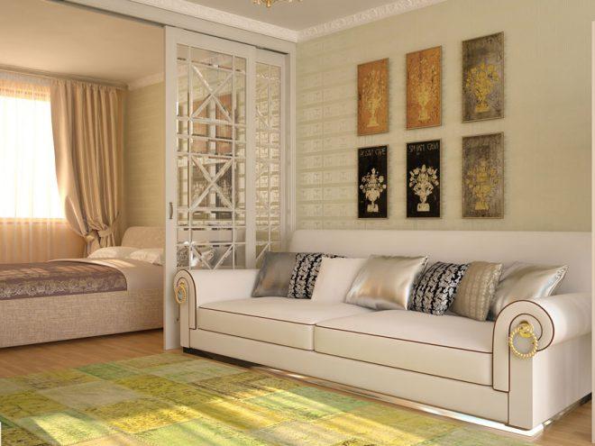 Спальня-гостиная, разделённая стеклянными раздвижными дверями