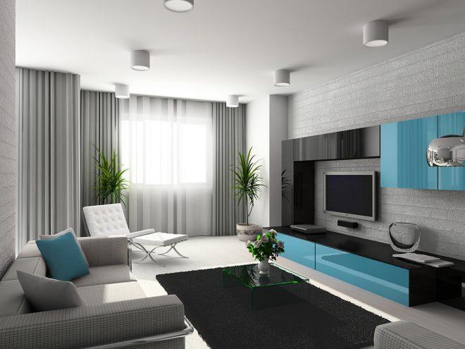 Дизайн гостиной с бирюзовыми акцентами