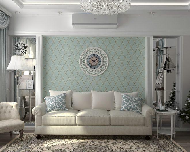 Светлая гостиная с элементами классики