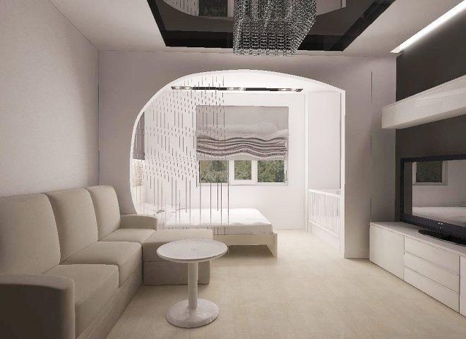 Дизайн гостиной-спальни в светлых тонах
