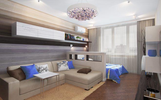 Кровать в гостиной-спальне за перегородкой