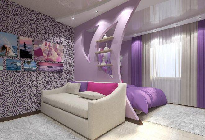 Гостиная-спальня с фигурной перегородкой