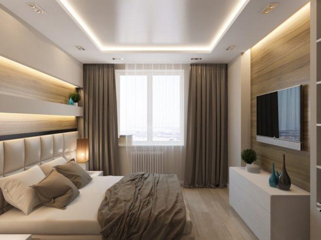 Спальня с панелями под дерево