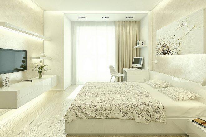 Светлая спальня с рабочей зоной
