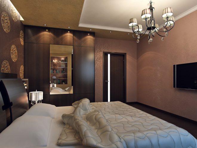 Дизайн прямоугольной спальни 15 кв. м