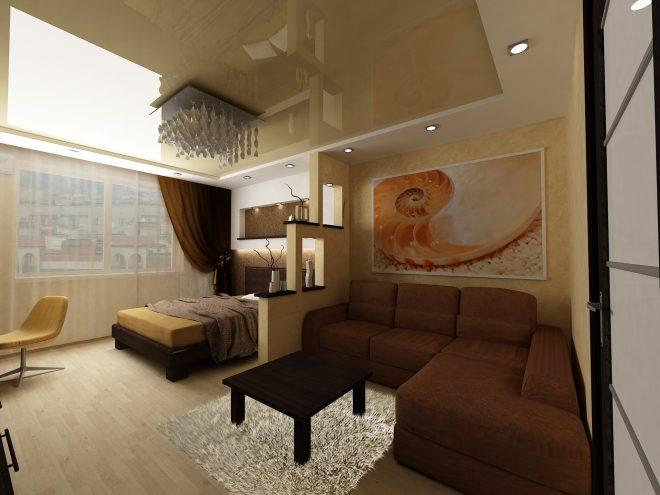 Отделение спальни от зоны отдыха ступенчатой перегородкой