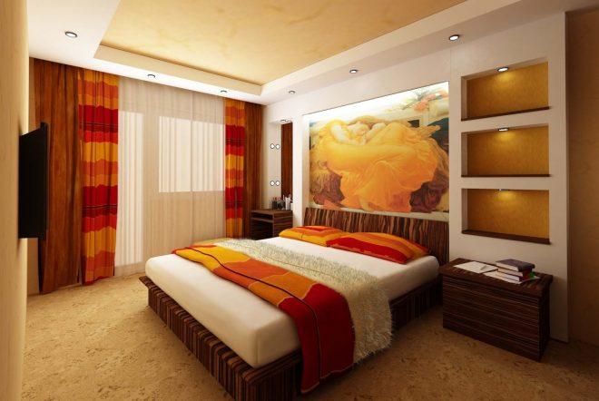 Яркие элементы в спальне