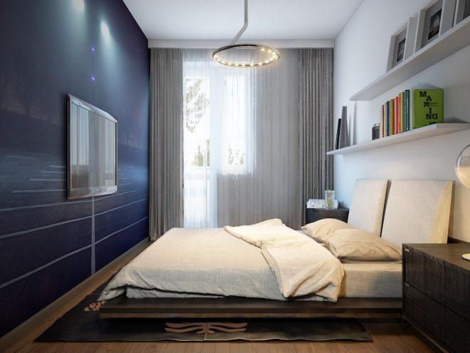 Спальня с контрастной синей стеной