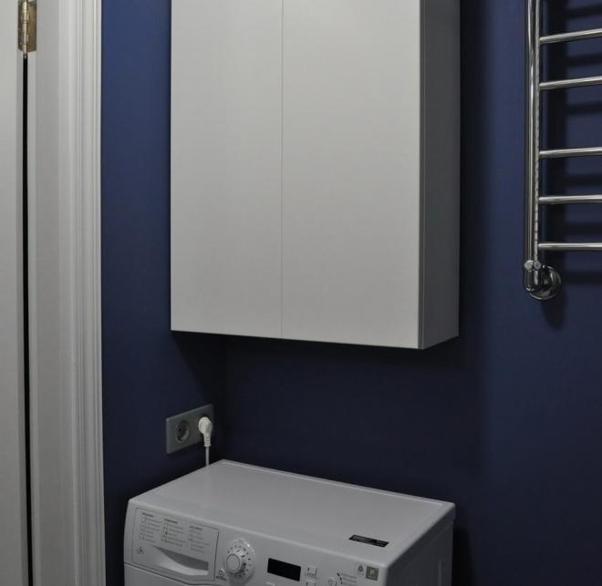 Сочетание белого шкафа с синими стенами