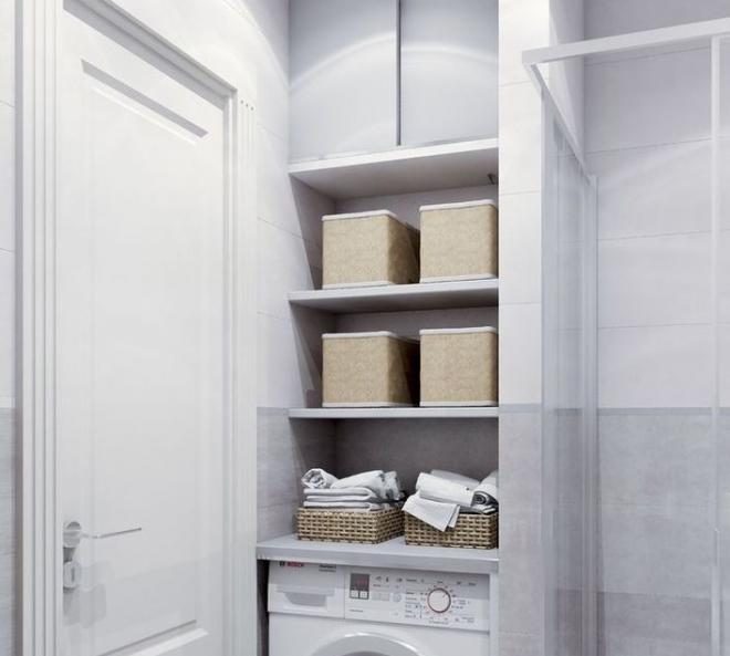 Шкаф и полки для хранения над стиральной машиной