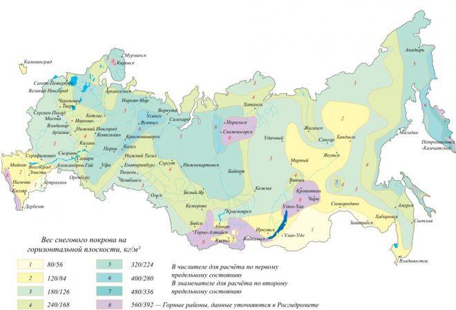 Карта снеговой нагрузки в России
