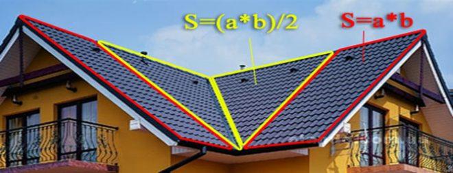 Формула для определения площади треугольного ската