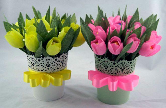 Букеты тюльпанов из гофрированной бумаги