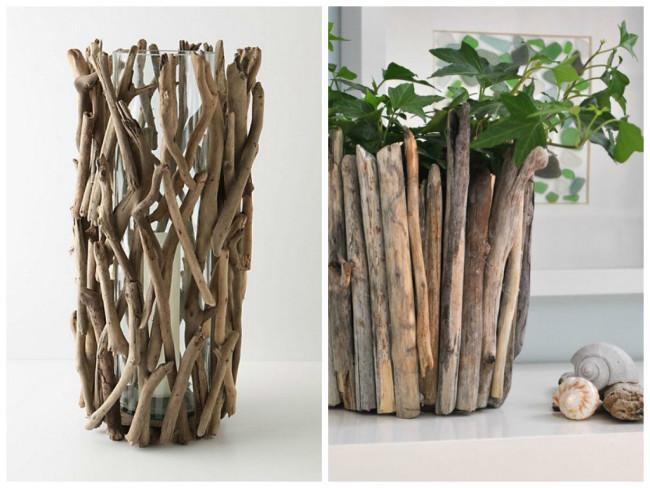 Декор из веток для вазы