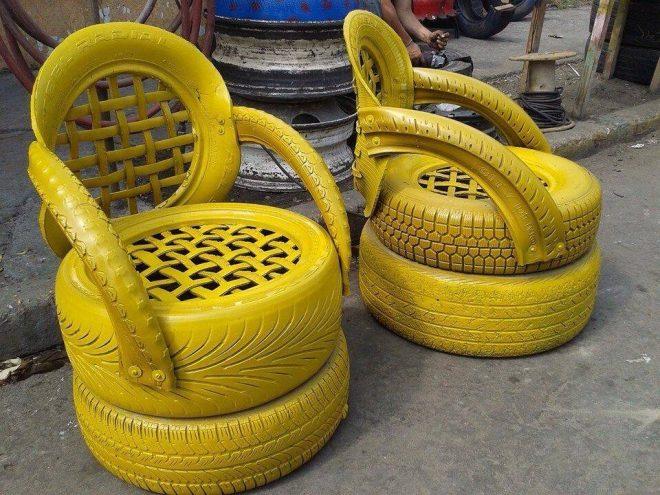 Необычные кресла из автошин