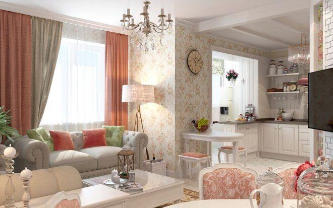 дизайн квартиры эконом класса в стиле прованс