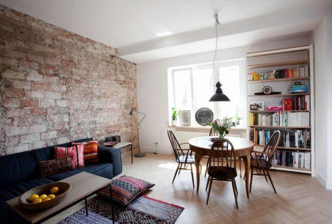 дизайн квартиры эконом класса в стиле лофт